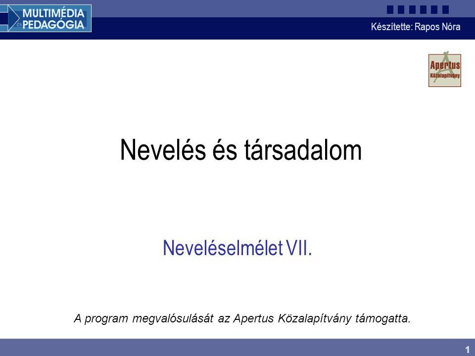 Készítette: Rapos Nóra 1 Nevelés és társadalom A program megvalósulását az Apertus Közalapítvány támogatta.