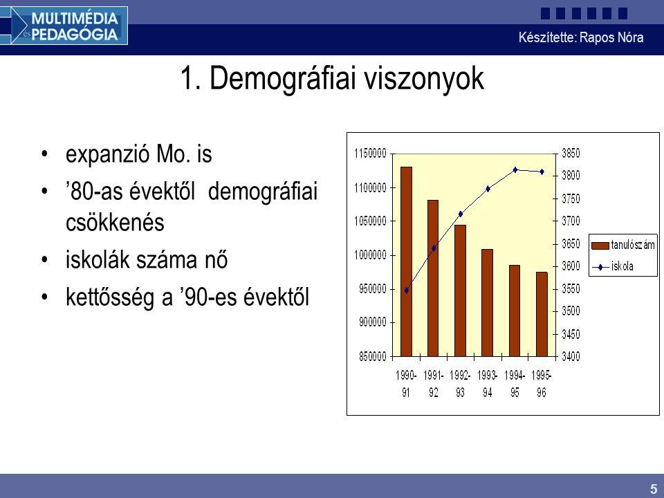 Készítette: Rapos Nóra 5 1. Demográfiai viszonyok expanzió Mo.