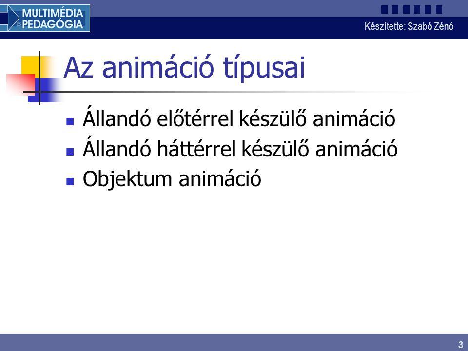 Készítette: Szabó Zénó 3 Az animáció típusai Állandó előtérrel készülő animáció Állandó háttérrel készülő animáció Objektum animáció