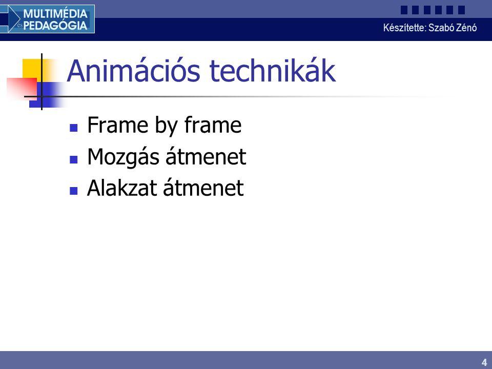 Készítette: Szabó Zénó 4 Animációs technikák Frame by frame Mozgás átmenet Alakzat átmenet