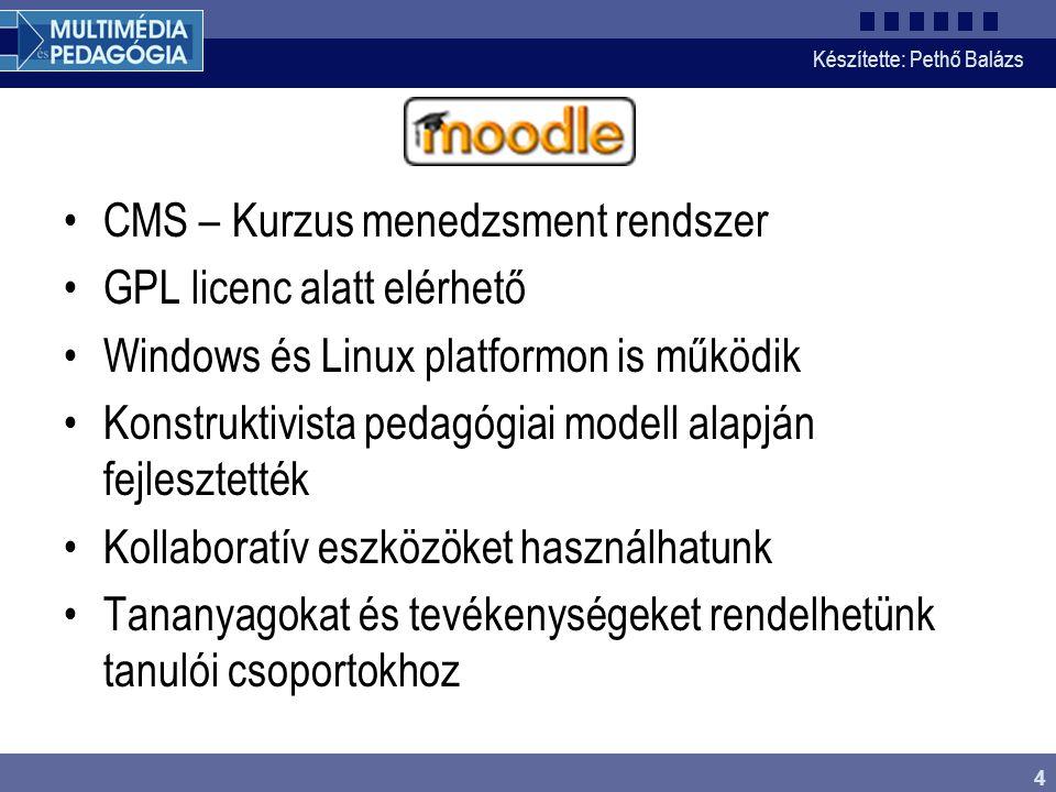 Készítette: Pethő Balázs 5 Installálás menete 1.Környezet kialakítása (web szerver, adatbázis) 2.Moodle (PHP) fájlok másolása 3.Üres adatbázis létrehozása, adatbázis jogosultságok beállítása 4.Config.php szerkesztése, jogosultságok beállítása 5.Adminisztrációs oldal meglátogatása, admin jelszó beállítása 6.Időzítések beállítása