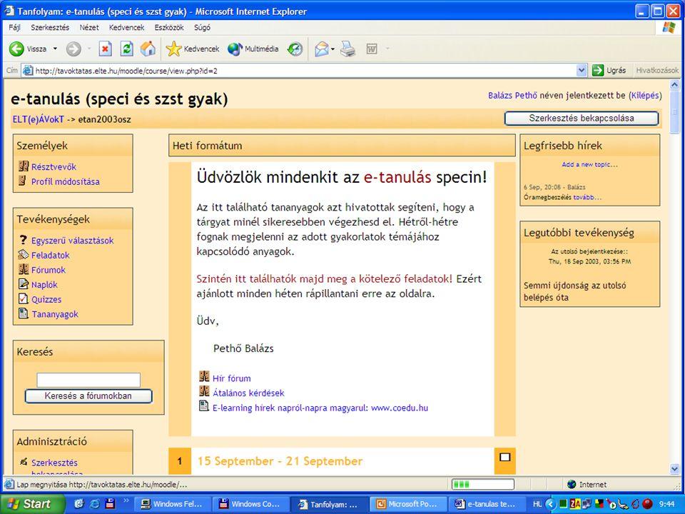 Készítette: Pethő Balázs 7 tavoktatas.elte.hu/moodle