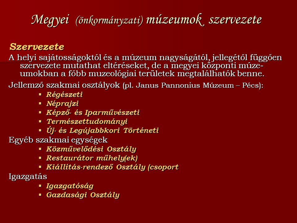 Megyei (önkormányzati) múzeumok szervezete Szervezete A helyi sajátosságoktól és a múzeum nagyságától, jellegétől függően szervezete mutathat eltérése
