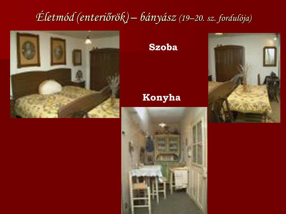 Életmód (enteriőrök) – bányász (19–20. sz. fordulója) Szoba Konyha