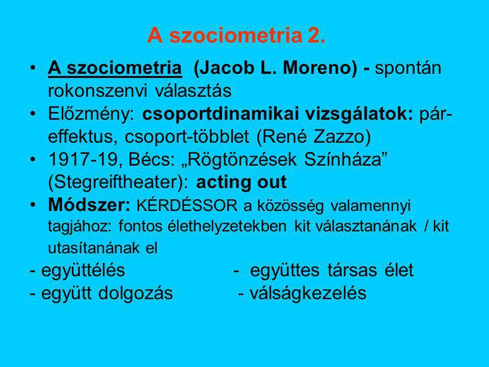 A szociometria 2. A szociometria (Jacob L. Moreno) - spontán rokonszenvi választás Előzmény: csoportdinamikai vizsgálatok: pár- effektus, csoport-több