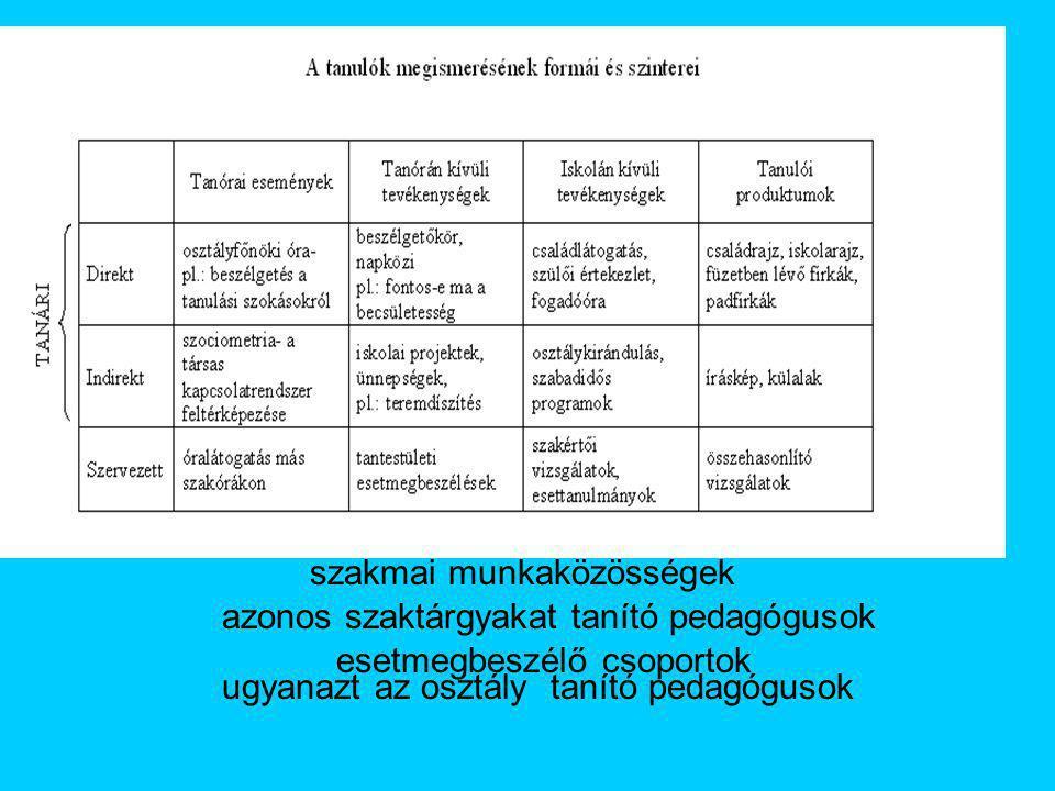 szakmai munkaközösségek esetmegbeszélő csoportok azonos szaktárgyakat tanító pedagógusok ugyanazt az osztály tanító pedagógusok