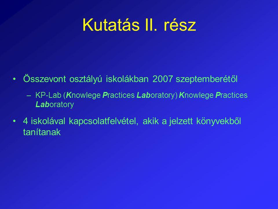 Kutatás II. rész Összevont osztályú iskolákban 2007 szeptemberétől –KP-Lab (Knowlege Practices Laboratory) Knowlege Practices Laboratory 4 iskolával k