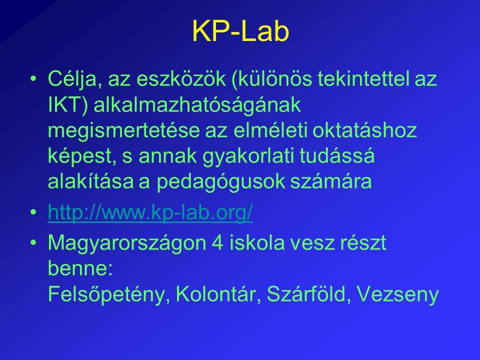 KP-Lab Célja, az eszközök (különös tekintettel az IKT) alkalmazhatóságának megismertetése az elméleti oktatáshoz képest, s annak gyakorlati tudássá al