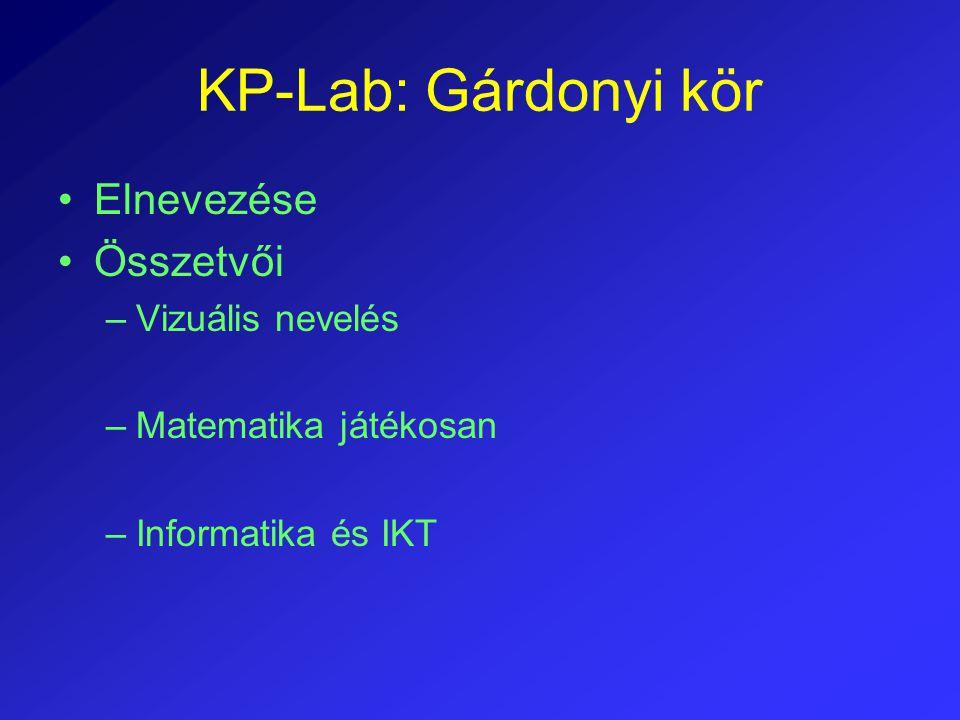 KP-Lab: Gárdonyi kör Elnevezése Összetvői –Vizuális nevelés –Matematika játékosan –Informatika és IKT