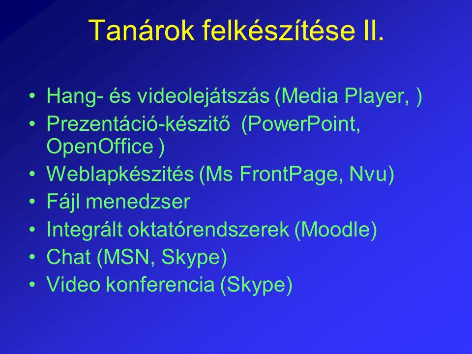 Tanárok felkészítése II. Hang- és videolejátszás (Media Player, ) Prezentáció-készitő (PowerPoint, OpenOffice ) Weblapkészités (Ms FrontPage, Nvu) Fáj