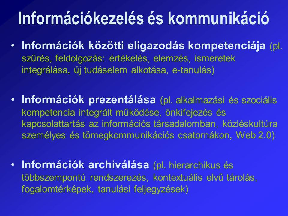 Információs társadalom technológia Információs társadalom kompetencia (pl.