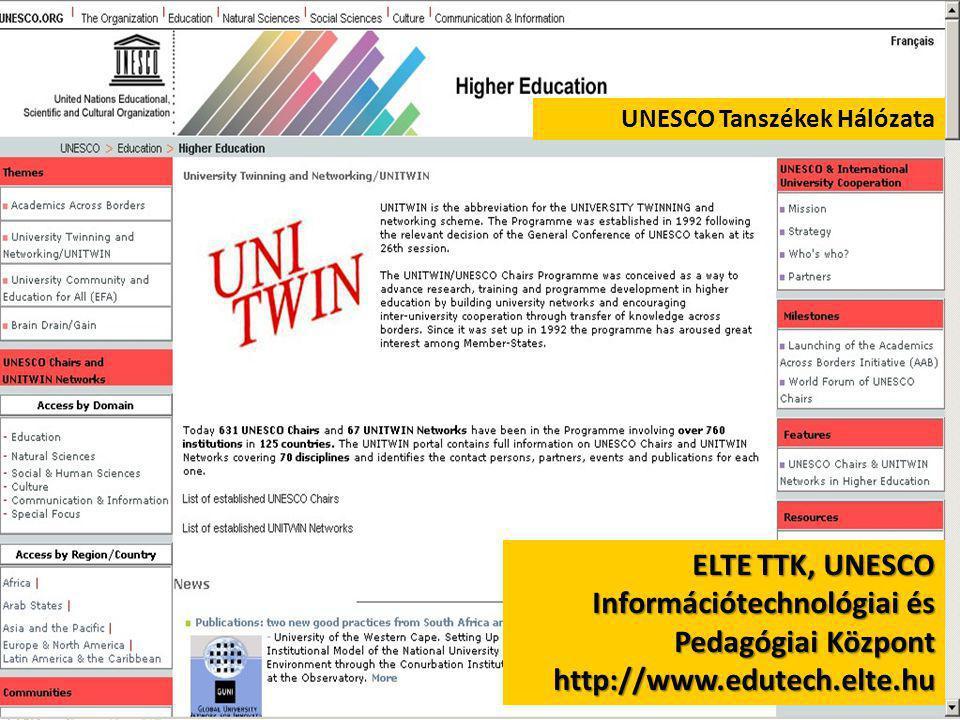 UNESCO Tanszékek Hálózata ELTE TTK, UNESCO Információtechnológiai és Pedagógiai Központ http://www.edutech.elte.hu