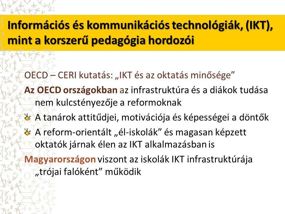 """OECD – CERI kutatás: """"IKT és az oktatás minősége Az OECD országokban az infrastruktúra és a diákok tudása nem kulcstényezője a reformoknak A tanárok attitűdjei, motivációja és képességei a döntők A reform-orientált """"él-iskolák és magasan képzett oktatók járnak élen az IKT alkalmazásban is Magyarországon viszont az iskolák IKT infrastruktúrája """"trójai falóként működik Információs és kommunikációs technológiák, (IKT), mint a korszerű pedagógia hordozói"""