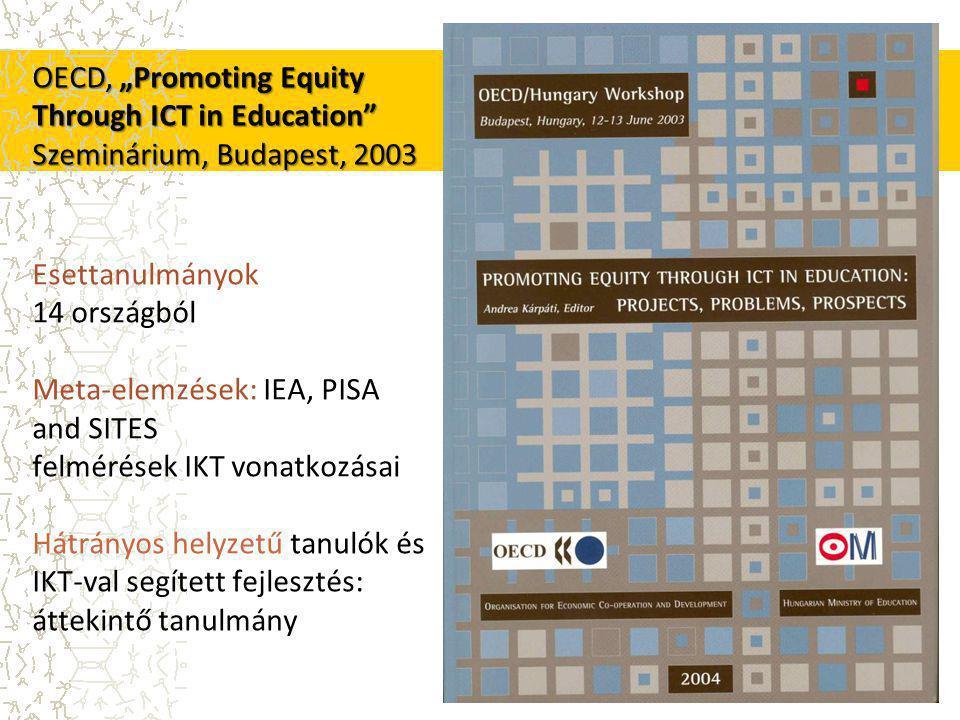 """Esettanulmányok 14 országból Meta-elemzések: IEA, PISA and SITES felmérések IKT vonatkozásai Hátrányos helyzetű tanulók és IKT-val segített fejlesztés: áttekintő tanulmány OECD, """"Promoting Equity Through ICT in Education Szeminárium, Budapest, 2003"""