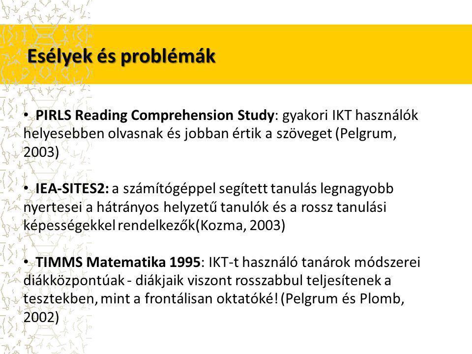 Esélyek és problémák PIRLS Reading Comprehension Study: gyakori IKT használók helyesebben olvasnak és jobban értik a szöveget (Pelgrum, 2003) IEA-SITES2: a számítógéppel segített tanulás legnagyobb nyertesei a hátrányos helyzetű tanulók és a rossz tanulási képességekkel rendelkezők(Kozma, 2003) TIMMS Matematika 1995: IKT-t használó tanárok módszerei diákközpontúak - diákjaik viszont rosszabbul teljesítenek a tesztekben, mint a frontálisan oktatóké.