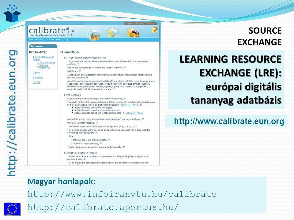 http://calibrate.eun.org Magyar honlapok: http://www.infoiranytu.hu/calibrate http://calibrate.apertus.hu/ LEARNING RESOURCE EXCHANGE (LRE): európai digitális tananyag adatbázis http://www.calibrate.eun.org SOURCE EXCHANGE