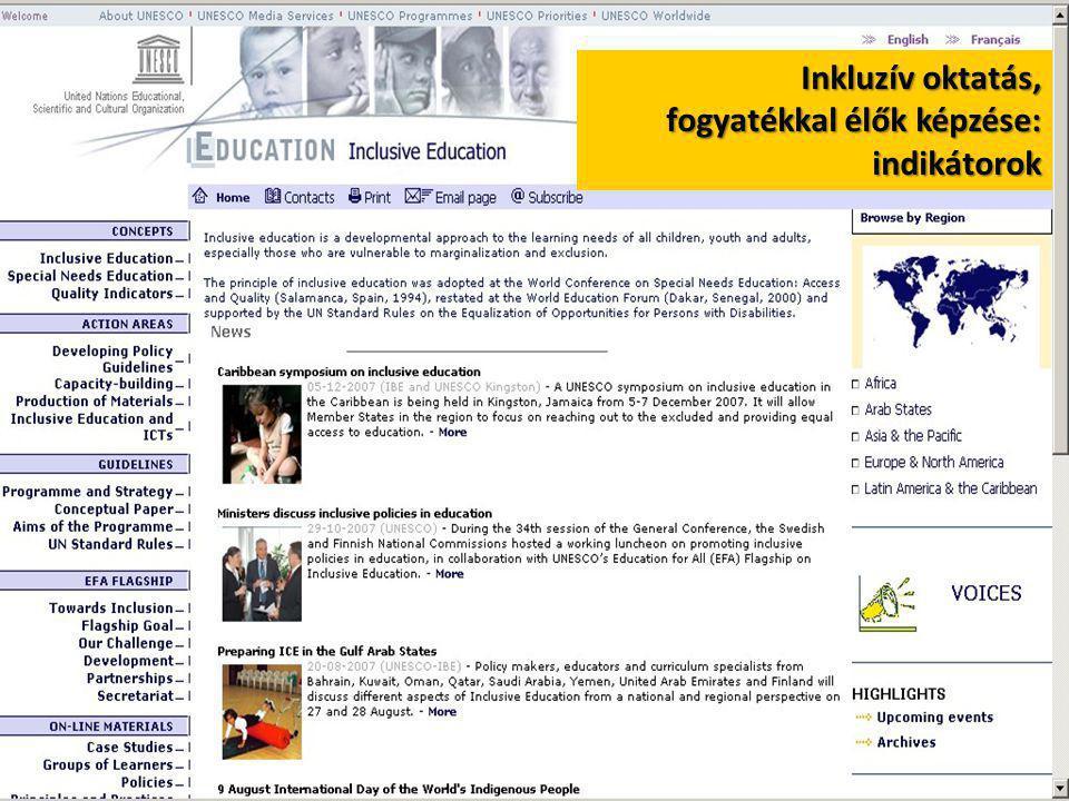 Inkluzív oktatás, fogyatékkal élők képzése: indikátorok