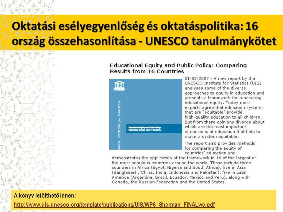 Oktatási esélyegyenlőség és oktatáspolitika: 16 ország összehasonlítása - UNESCO tanulmánykötet A könyv letölthető innen: http://www.uis.unesco.org/template/publications/UIS/WP6_Sherman_FINALwc.pdf