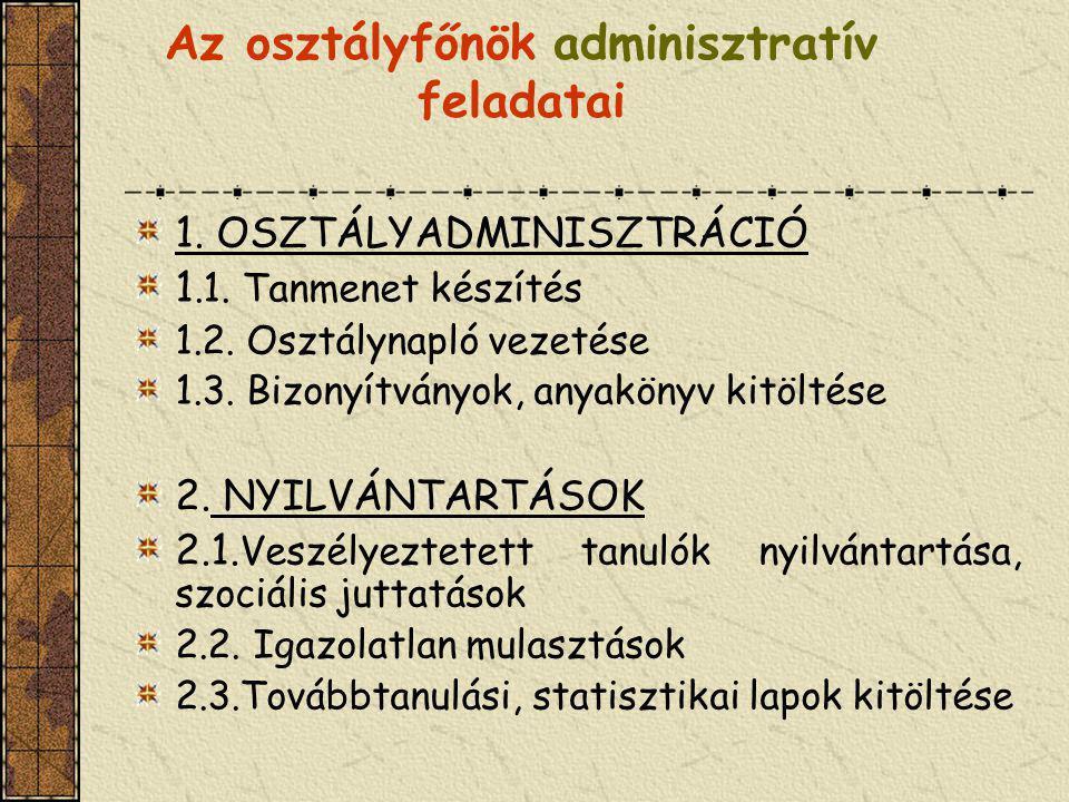 Az osztályfőnök adminisztratív feladatai 1.OSZTÁLYADMINISZTRÁCIÓ 1.1.