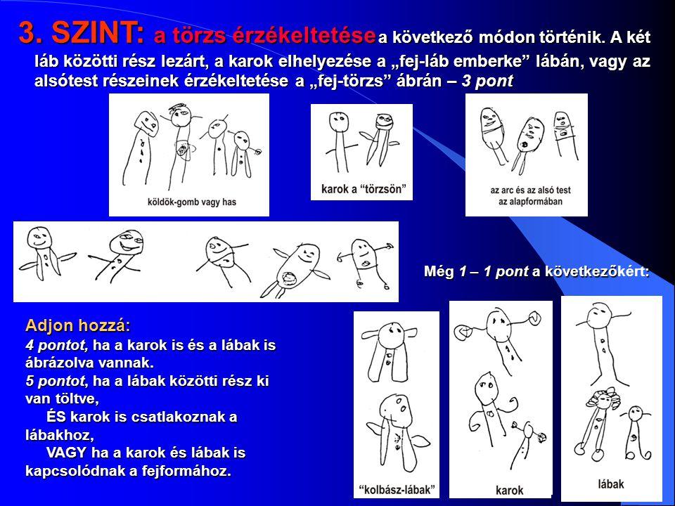 """3. SZINT: a törzs érzékeltetése a következő módon történik. A két láb közötti rész lezárt, a karok elhelyezése a """"fej-láb emberke"""" lábán, vagy az alsó"""