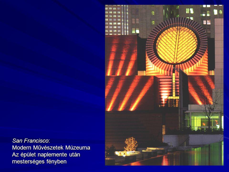 San Francisco: Modern Művészetek Múzeuma Az épület naplemente után mesterséges fényben