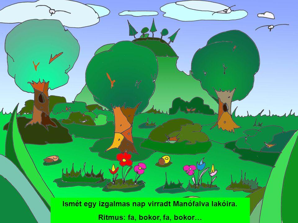 Ismét egy izgalmas nap virradt Manófalva lakóira. Ritmus: fa, bokor, fa, bokor…