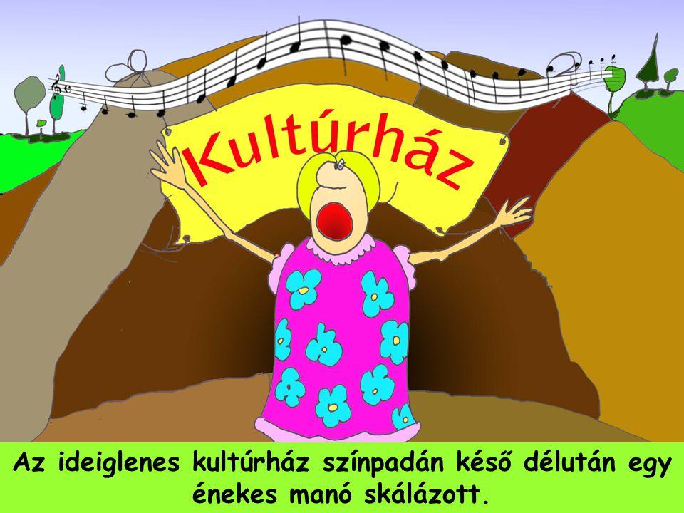 Az ideiglenes kultúrház színpadán késő délután egy énekes manó skálázott.