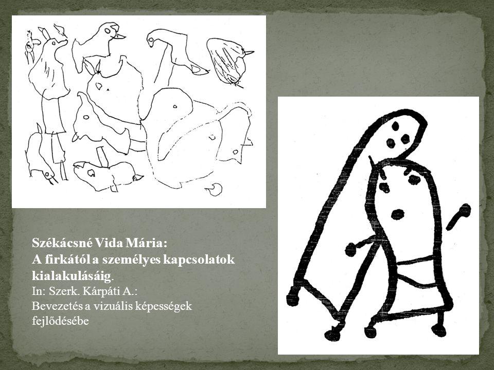Székácsné Vida Mária: A firkától a személyes kapcsolatok kialakulásáig. In: Szerk. Kárpáti A.: Bevezetés a vizuális képességek fejlődésébe