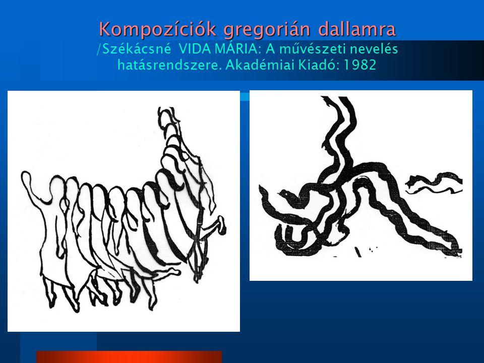 Kompozíciók gregorián dallamra Kompozíciók gregorián dallamra /Székácsné VIDA MÁRIA: A művészeti nevelés hatásrendszere. Akadémiai Kiadó: 1982