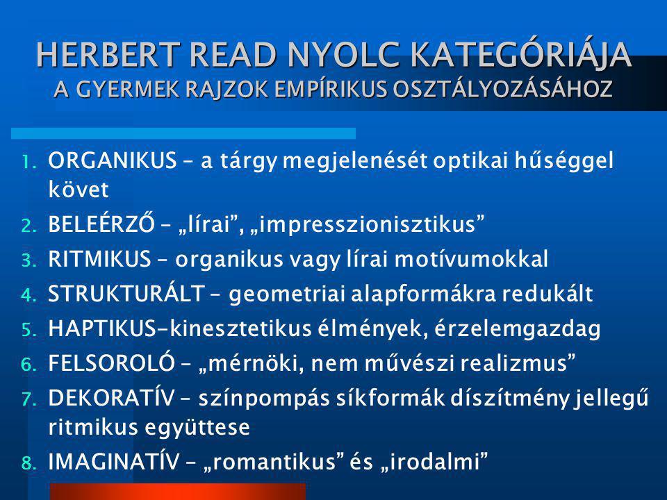 """HERBERT READ NYOLC KATEGÓRIÁJA A GYERMEK RAJZOK EMPÍRIKUS OSZTÁLYOZÁSÁHOZ 1. ORGANIKUS – a tárgy megjelenését optikai hűséggel követ 2. BELEÉRZŐ – """"lí"""