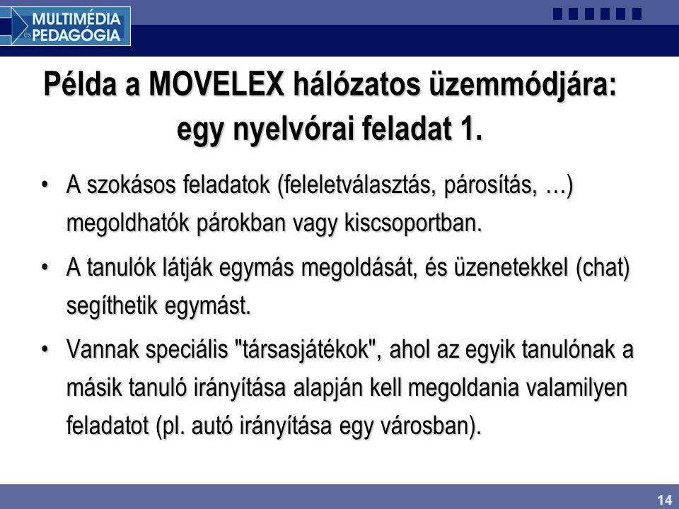 14 Példa a MOVELEX hálózatos üzemmódjára: egy nyelvórai feladat 1. A szokásos feladatok (feleletválasztás, párosítás, …) megoldhatók párokban vagy kis