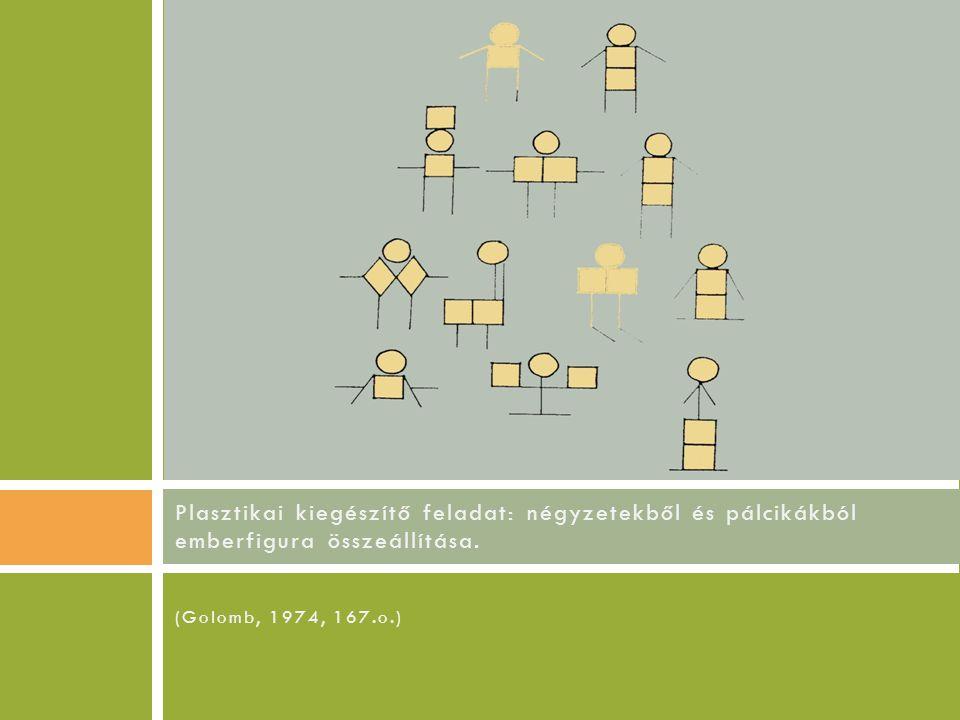 (Golomb, 1974, 167.o.) Plasztikai kiegészítő feladat: négyzetekből és pálcikákból emberfigura összeállítása.