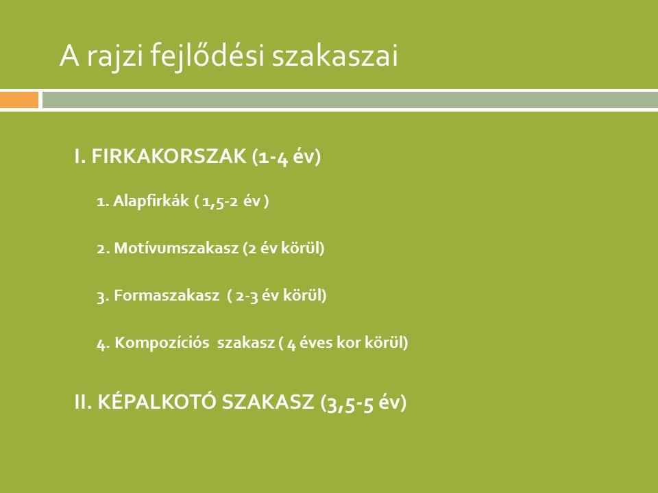 A rajzi fejlődési szakaszai I. FIRKAKORSZAK (1-4 év) 1. Alapfirkák ( 1,5-2 év ) 2. Motívumszakasz (2 év körül) 3. Formaszakasz ( 2-3 év körül) 4. Komp