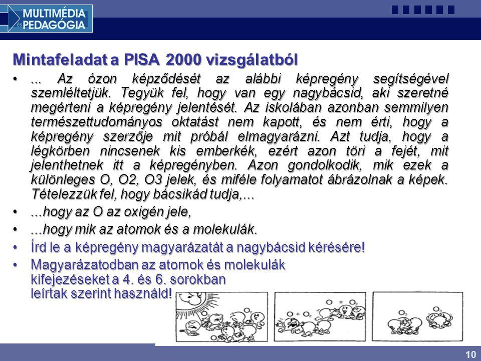 10 Mintafeladat a PISA 2000 vizsgálatból... Az ózon képződését az alábbi képregény segítségével szemléltetjük. Tegyük fel, hogy van egy nagybácsid, ak