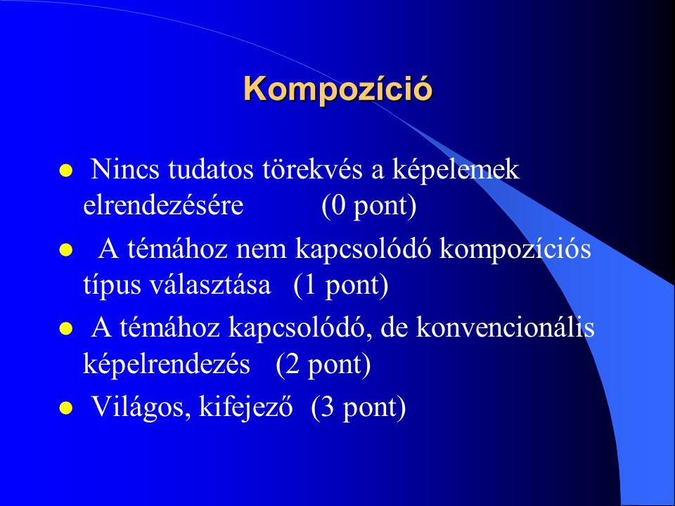 Kompozíció l Nincs tudatos törekvés a képelemek elrendezésére (0 pont) l A témához nem kapcsolódó kompozíciós típus választása (1 pont) l A témához ka