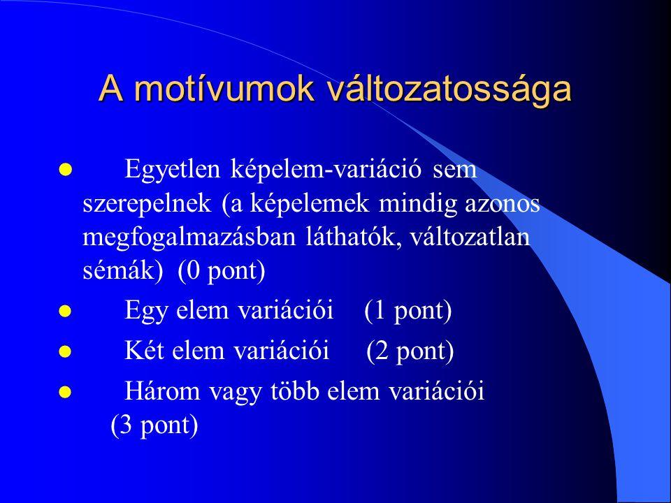 A motívumok változatossága l Egyetlen képelem-variáció sem szerepelnek (a képelemek mindig azonos megfogalmazásban láthatók, változatlan sémák) (0 pon