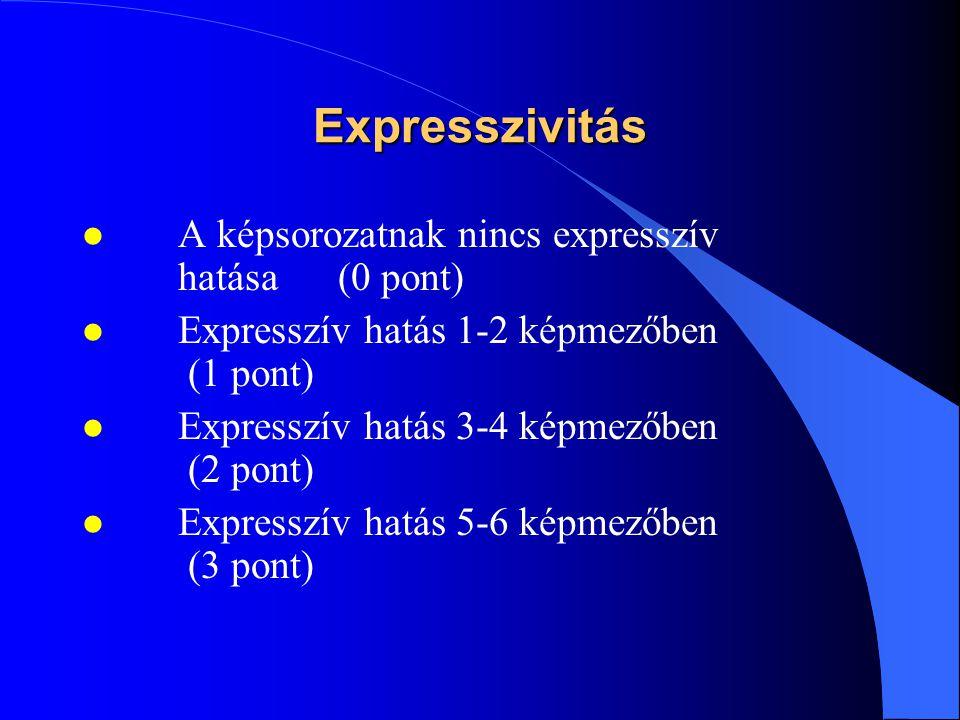 Expresszivitás l A képsorozatnak nincs expresszív hatása (0 pont) l Expresszív hatás 1-2 képmezőben (1 pont) l Expresszív hatás 3-4 képmezőben (2 pont