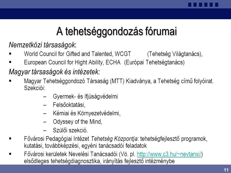 11 A tehetséggondozás fórumai Nemzetközi társaságok :  World Council for Gifted and Talented, WCGT (Tehetség Világtanács),  European Council for Hig
