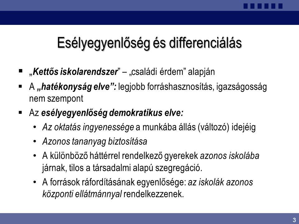"""3 Esélyegyenlőség és differenciálás  """" Kettős iskolarendszer """" – """"családi érdem"""" alapján  A """"hatékonyság elve"""": legjobb forráshasznosítás, igazságos"""