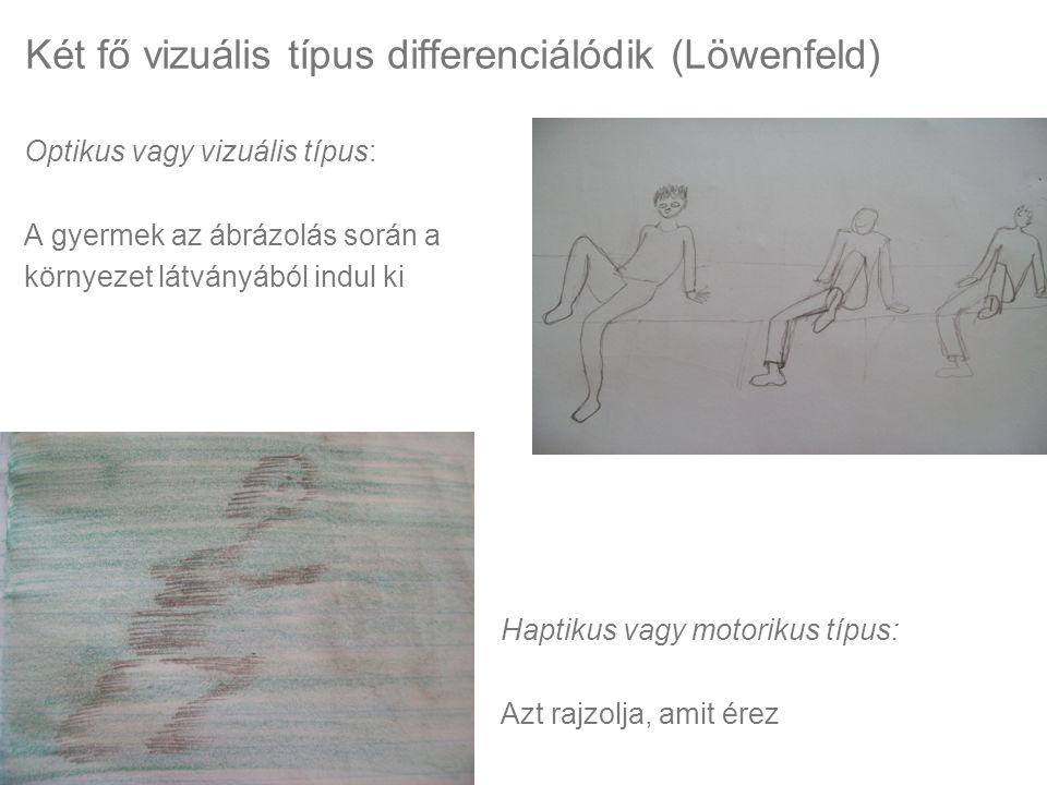 Két fő vizuális típus differenciálódik (Löwenfeld) Optikus vagy vizuális típus: A gyermek az ábrázolás során a környezet látványából indul ki Haptikus