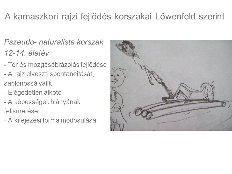 Pszeudo- naturalista korszak 12-14. életév - Tér és mozgásábrázolás fejlődése - A rajz elveszti spontaneitását, sablonossá válik - Elégedetlen alkotó