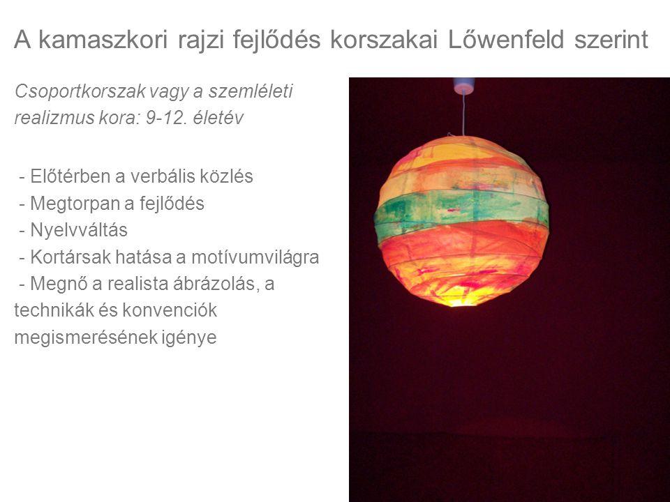 A kamaszkori rajzi fejlődés korszakai Lőwenfeld szerint Csoportkorszak vagy a szemléleti realizmus kora: 9-12. életév - Előtérben a verbális közlés -