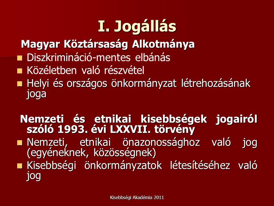 Kisebbségi Akadémia 2011 I. Jogállás Magyar Köztársaság Alkotmánya Magyar Köztársaság Alkotmánya Diszkrimináció-mentes elbánás Közéletben való részvét