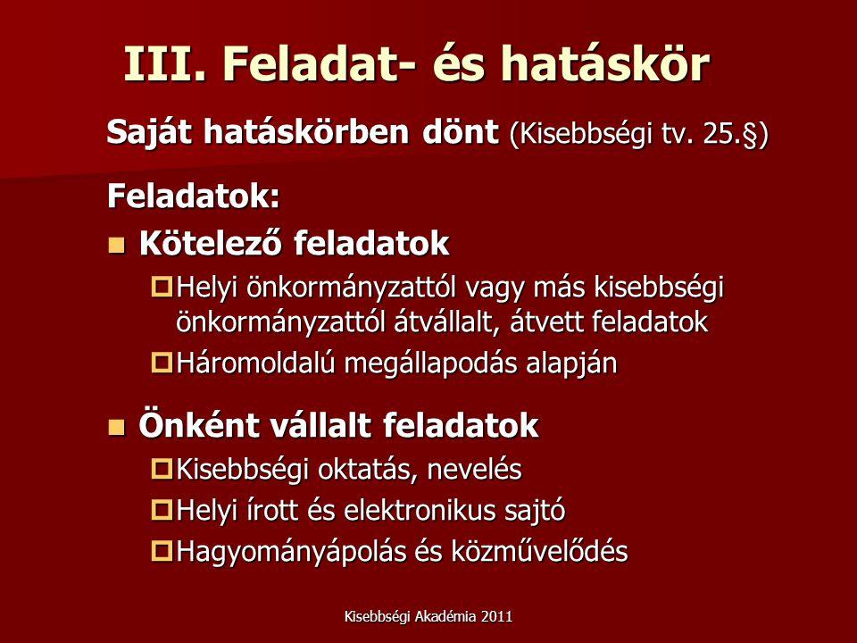 Kisebbségi Akadémia 2011 III. Feladat- és hatáskör Saját hatáskörben dönt (Kisebbségi tv.