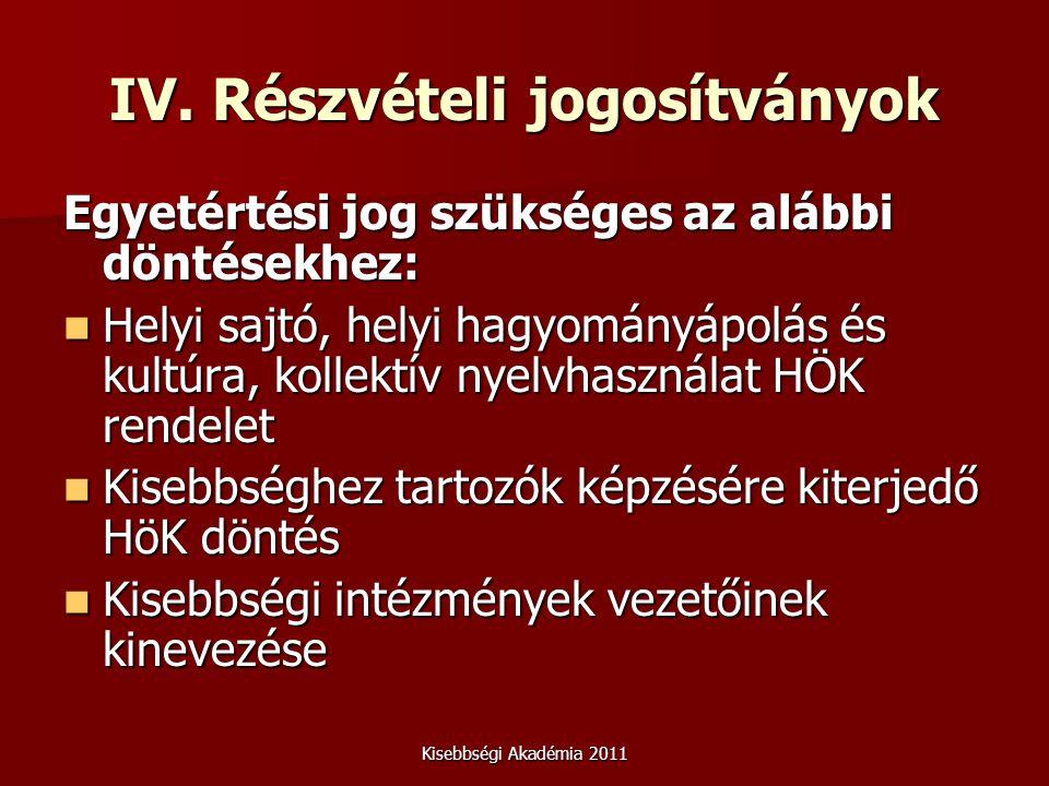 Kisebbségi Akadémia 2011 IV. Részvételi jogosítványok Egyetértési jog szükséges az alábbi döntésekhez: Helyi sajtó, helyi hagyományápolás és kultúra,