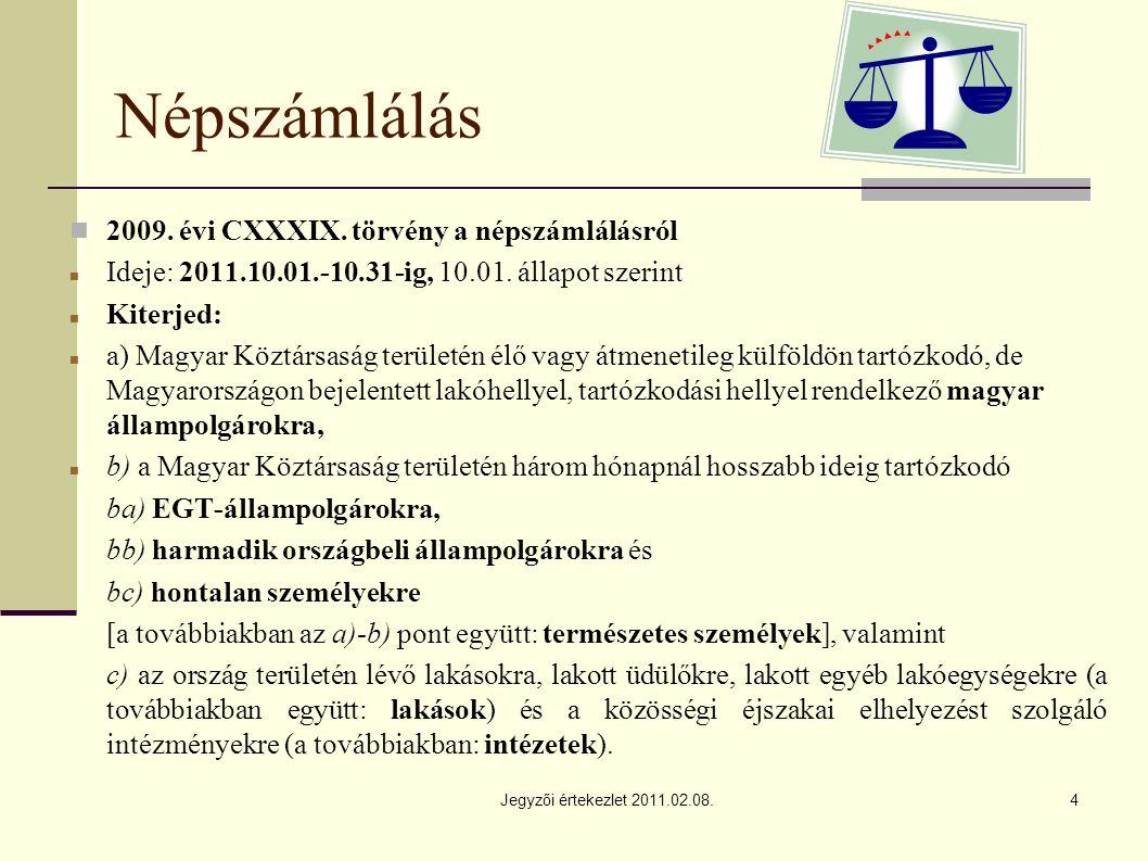 Jegyzői értekezlet 2011.02.08.4 Népszámlálás 2009.