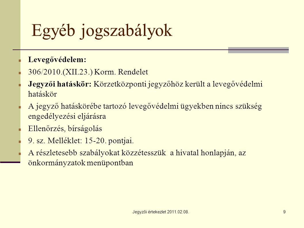 Jegyzői értekezlet 2011.02.08.9 Egyéb jogszabályok Levegővédelem: 306/2010.(XII.23.) Korm.