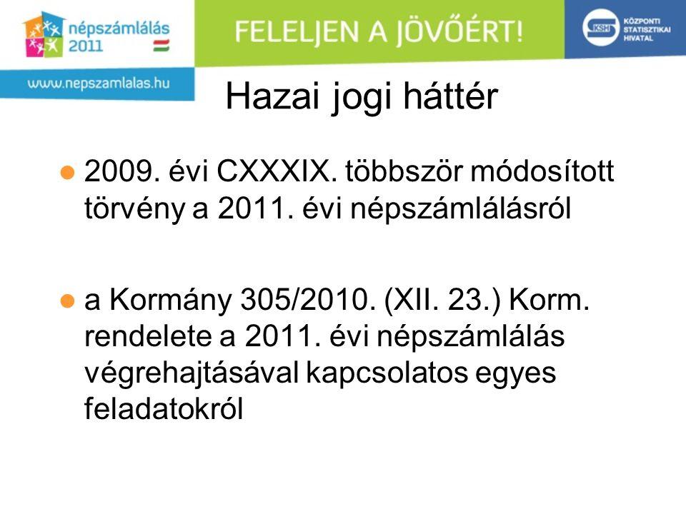 Hazai jogi háttér 2009. évi CXXXIX. többször módosított törvény a 2011. évi népszámlálásról a Kormány 305/2010. (XII. 23.) Korm. rendelete a 2011. évi