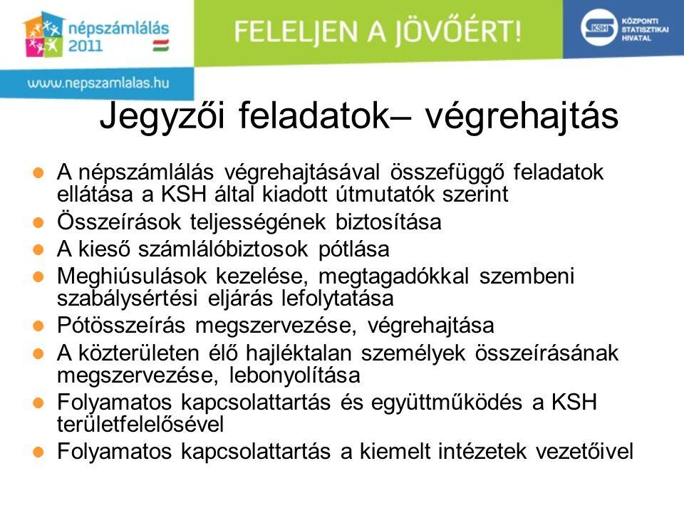 Jegyzői feladatok– végrehajtás A népszámlálás végrehajtásával összefüggő feladatok ellátása a KSH által kiadott útmutatók szerint Összeírások teljessé