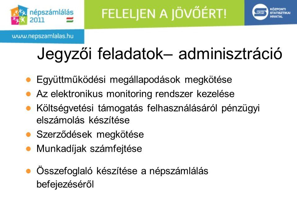 Jegyzői feladatok– adminisztráció Együttműködési megállapodások megkötése Az elektronikus monitoring rendszer kezelése Költségvetési támogatás felhasználásáról pénzügyi elszámolás készítése Szerződések megkötése Munkadíjak számfejtése Összefoglaló készítése a népszámlálás befejezéséről